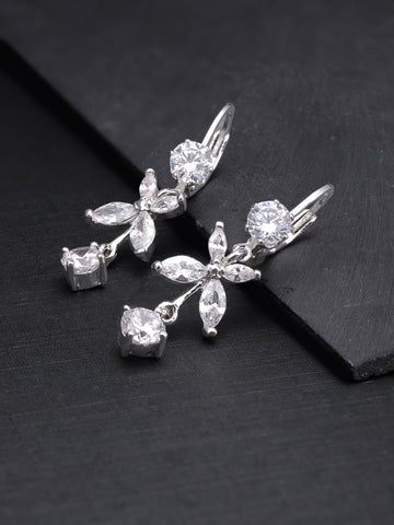Silver Plated American Diamond Studded Floral Pattern Drop Earrings For Women