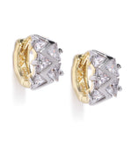 Gold Plated American Diamond Studded Bali Like Stud Earrings For Women