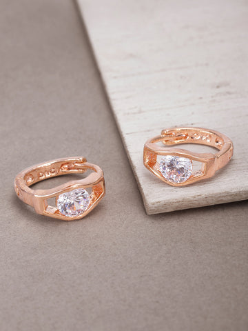 Rose Gold Plated American Diamond Studded Bali Like Stud Earrings For Women