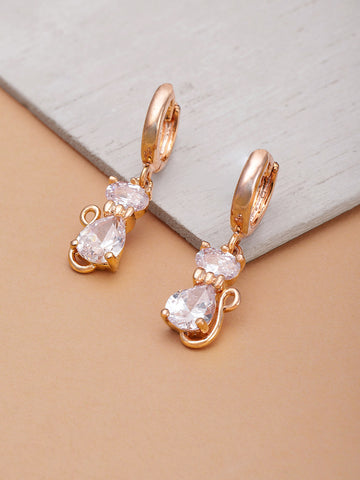 Rose Gold Plated American Diamond Studded Cat Inspired Drop Earrings