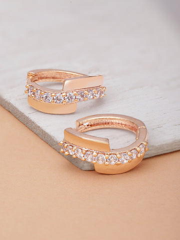 Rose Gold Plated American Diamond Studded Bali Like Stud Earrings