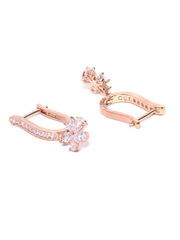 Rose Gold Plated American Diamond Studded Floral Drop Earrings