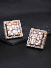 Rose Gold Plated American Diamond Studded Square Shaped Stud Earrings