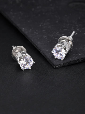 Silver Plated American Diamond Studded Beautiful Stud Earrings