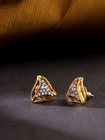 Gold Plated American Diamond Studded Triangular Shaped Grey Stud Earrings