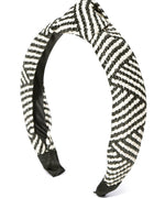 Prita Designer Off-White And Black Lined Pattern Hair Bands Set Of 2
