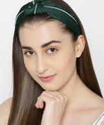 Designer Dark Green With White Line Hairband For Girls