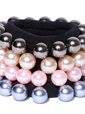 Set Of 4 Black Rubber Band Decorated With Glossy Finish Multicolor Pearls