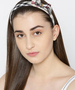 Black And Beige Checkerd Side Bow Hairband