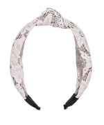 Prita Off white Lace Fabric Knotted Hairband in Floral Pattern
