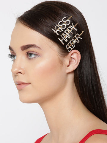 Set Of 3 Gold-Plated American Diamond Studded Letter Party Barrette Hair Clip