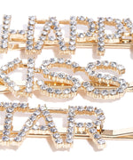Prita Set Of 3 Gold-Plated American Diamond Studded Letter Party Barrette Hair Clip