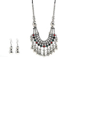 Multi-Color Beads Silver Plated Jewellery Set