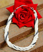 Prita White Handcrafted Multistranded Necklace