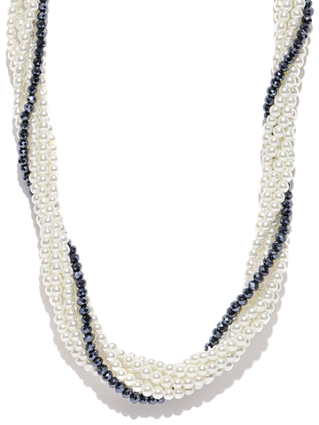 White & Black Beaded Silver Plated Necklace