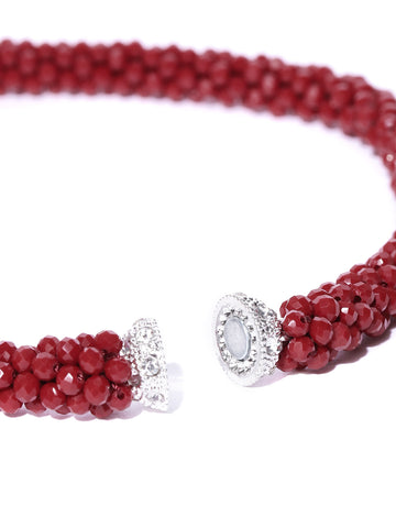 Maroon Beaded Stones Necklace