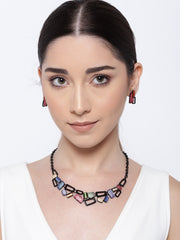 Multi-Color Black Metal Geometric Pendant Set