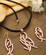 Priyaasi Rose Gold Plated Fabric Chain Pendant Set