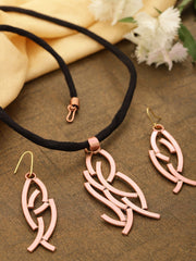 Rose Gold Plated Fabric Chain Pendant Set