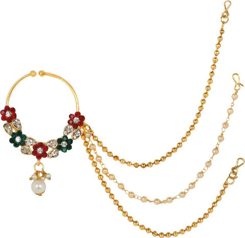 Gold Plated Stone Studded Triple Chain Multicolor Floral Nath/Nose Ring