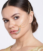 Priyaasi Gold Plated Stone Studded Triple Chain Nath/ Nose Ring