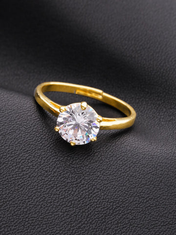 Gold-Plated Ad, American Diamond Studded Handcrafted Finger Ring
