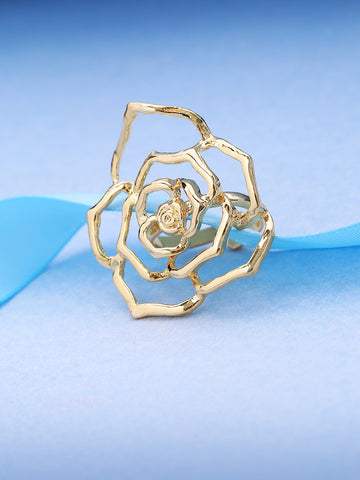 Gold-Toned Self Designed Rose Flower Shaped Party Wear Adjustable Ring