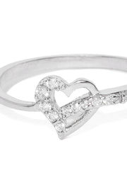 Silver Plated American Diamond Studded Heart Designed Finger Ring