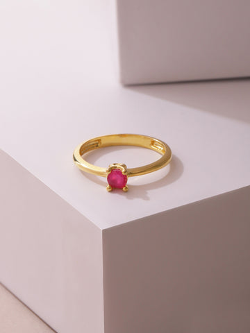 Gold Plated Ruby Stone Studded Lightweight Party Wear Finger Ring