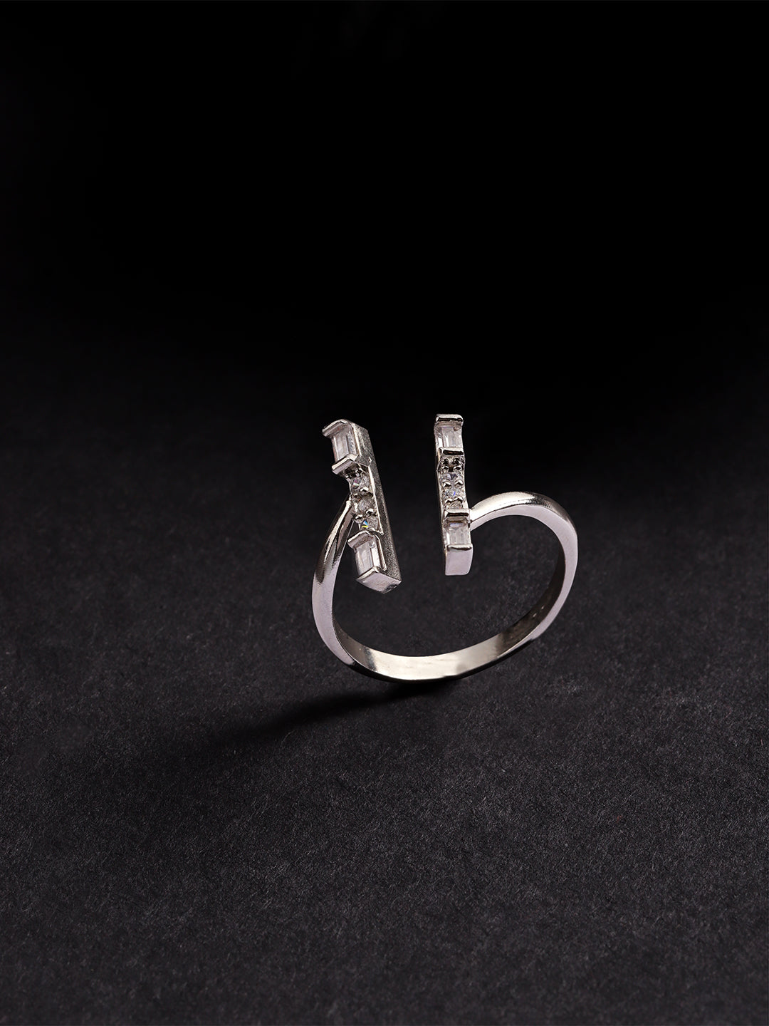 Silver Plated American Diamond Studded Linear Pattern Adjustable Ring