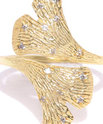 Gold-Plated American Diamond Studded Floral Patterned Ring