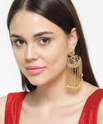 Priyaasi's Party Wear 18k Gold Plated & Pearl Long Tassel Earrings For Girls and Women