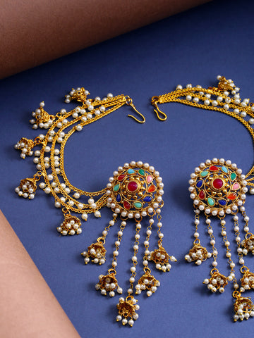 Navratan 18K Gold-Plated Beaded Jhumkas Ear Chain