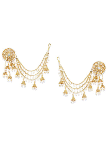 Party Wear 18k Gold Plated White Polki & Pearl Bahubali Jhumki/Jhumka Earrings For Girls and Women