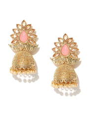 Pink Party Wear Jhumki/Jhumka Earrings For Girls and Women