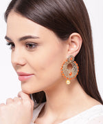 Orange Party Wear Drop Earrings For Girls and Women