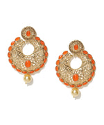 Priyaasi's Orange Party Wear Drop Earrings For Girls and Women