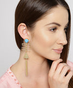 Priyaasi's Limited Editon Elegant Triangle Design Magnificent Pair Of Colorful Turquoise Blue Tassel EarringsÂ