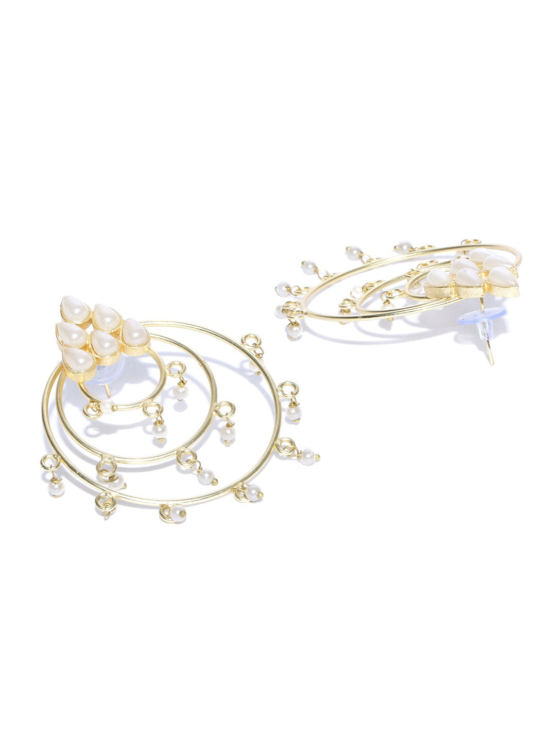 Gold Plated Flower In Circle Pearl Earrings