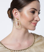 Priyaasi's Gold Plated Hanging Stone In Circle Earrings