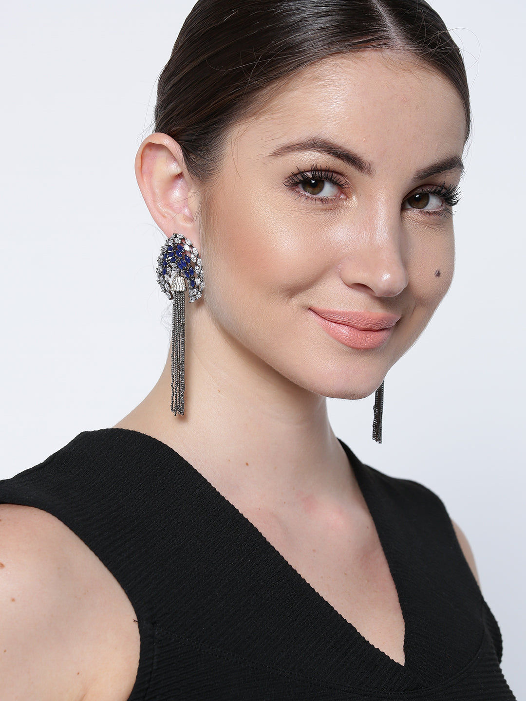 Blue & White Crystal Tassel Earrings