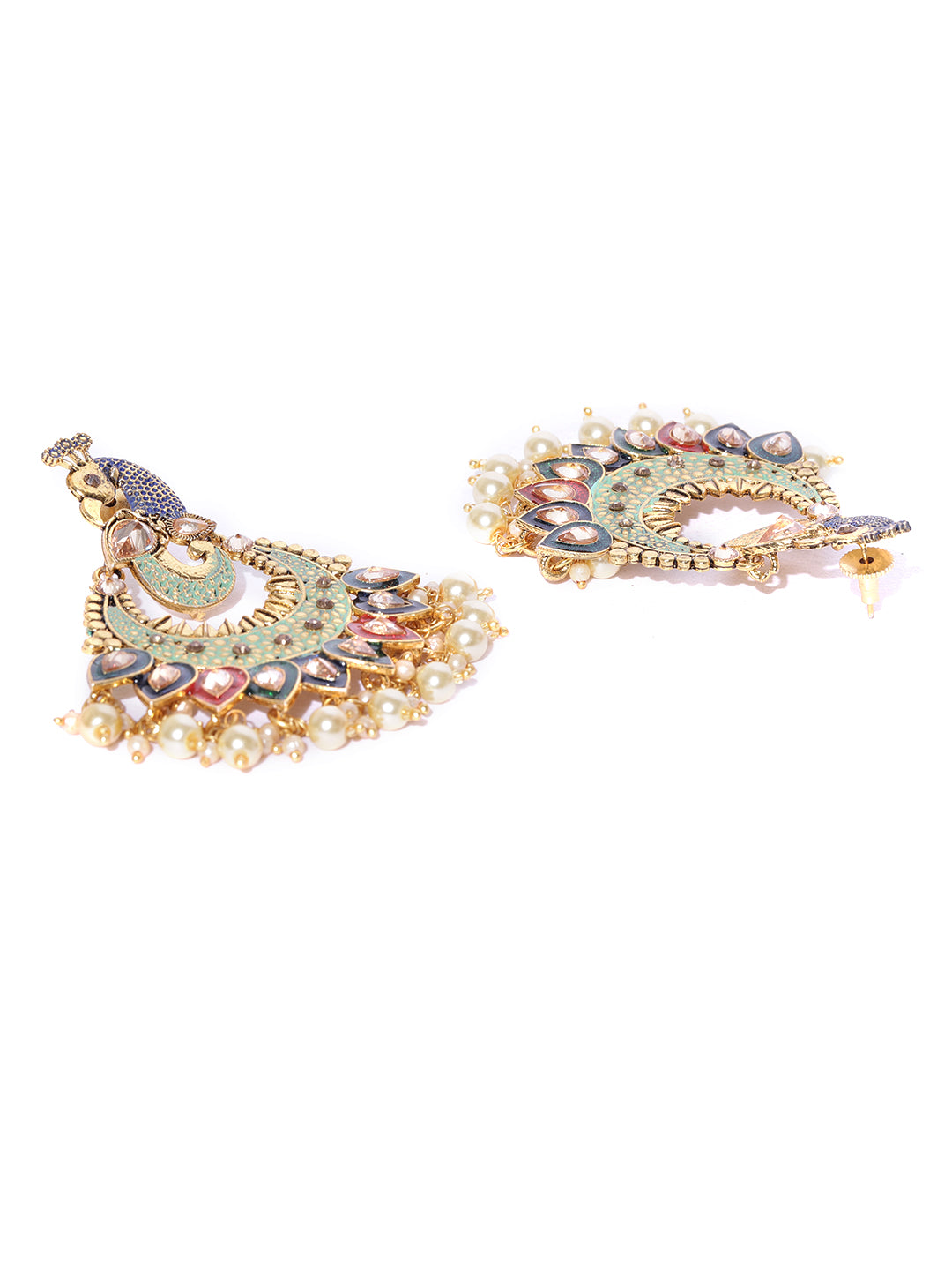 Gold Plated Green Peacock Inspired Party Wear Earrings