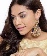 Priyaasi Gold Plated Peacock Inspired Blue Party Wear Earrings