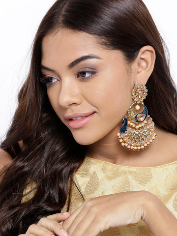 Gold Plated Peacock Inspired Blue Party Wear Earrings