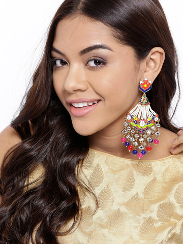 Gold-Plated Kundan Studded Meenakari Drop Earrings with Beads Drop in Multicolor