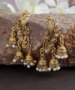 Priyaasi's Peacock Shaped Gold Plated Earring With Jhumki