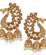 Gold Plated Peacock Shaped  Earrings For Women