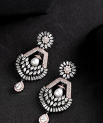 Sparkling Rose Gold Plated American Diamond Drop Earring For Women And Girls