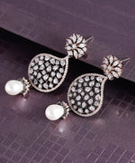Priyaasi Stylish Tear Drop Shaped Stone Studded Earring With Pearl Drop For Women And Girls