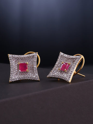 Geometric Shaped American Diamond Stud Earring For Women And Girls